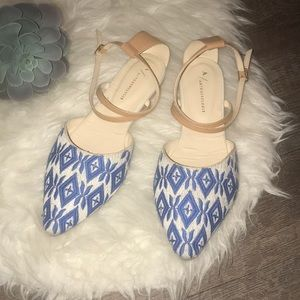 Anthropologie Pointed Toe Ankle Strap Flats Sz9